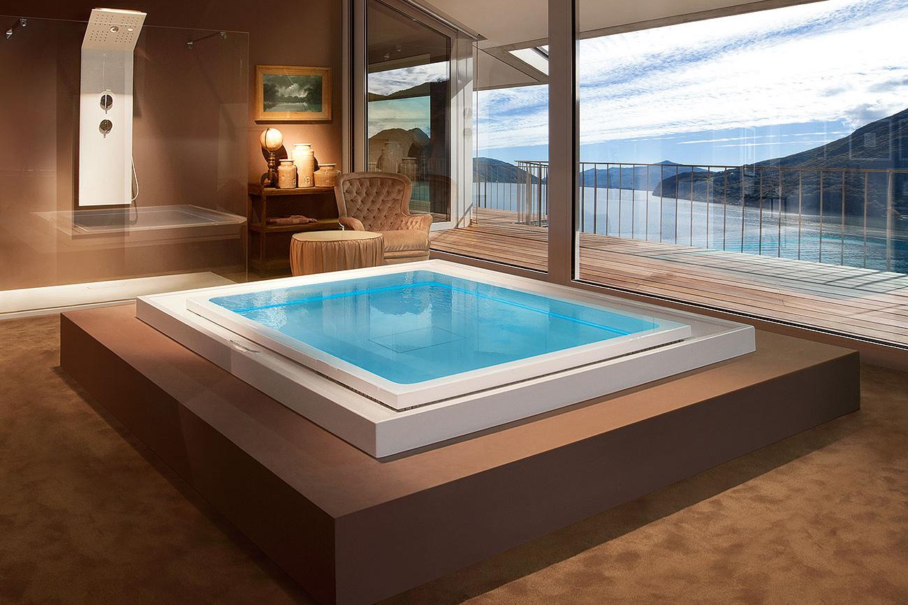 Vasca idromassaggio circolare o rettangolare fusion spa - Vasche da bagno grandi dimensioni ...
